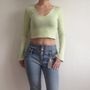 Trilogy - Lime Green Crop Top Long Sleeves